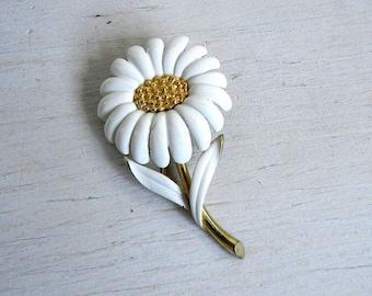 Enamel Daisy Flower Brooch | Enamel Flower Pin | Vintage Jewelry | Daisy Pin | Vintage Flower Pin | Enamel Jewelry