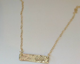 Gold filled hammered bar necklace with chevron