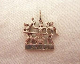 Vintage Sterling Silver Aruba Limbo Dance Souvenir Pendant