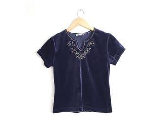 Size XS // VELVET FLORAL Tee // Navy Blue - Rainbow Flower Embroidery - V-Neck - Club Kid - Grunge - Vintage '80s.