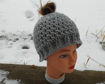Messy Bun Hat, Ready To Ship, Gray Ponytail Beanie