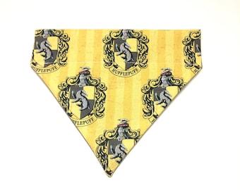 Pet Accessory - Hufflepuff House Crest - Over-the-Collar - Custom - Bandana, Bow Tie, Neck Tie, Flower