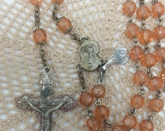 "Vintage Pink Glass Beaded Rosary Prayer Beads with tag ""Extra Strong Italy"""