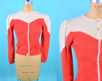 1980s modern cardigan | 80s new wave red white cardigan | vintage angora sweater S