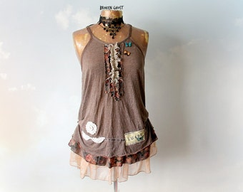 Shabby Chic Top Brown Boho Tank Music Festival Bohemian Clothing Upcycle Recycle Womens Lace Tunic Country Clothes Romantic Shirt S M 'FIONA