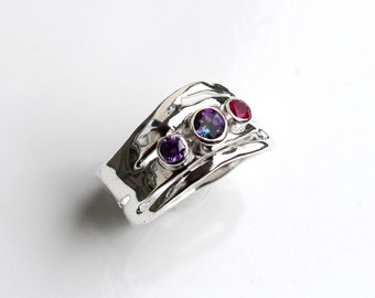 Mystic Topaz Ring, Ruby Amethyst and Topaz Silver Organic Design Ring, Recycled Silver Ring, Multi Stone Ring, Birthstone Ring, Mothers Ring