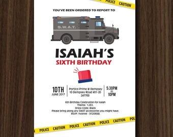 SWAT Invitation, Police Invitation, Police Party, Police Theme, Police Birthday  5x7 IN