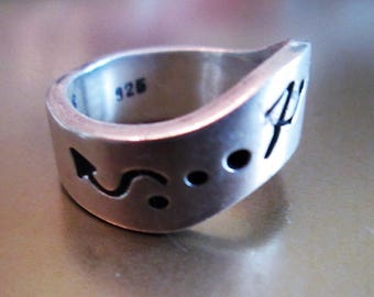 RING - HOPI   - Native American - Band - Estate Sale - Sterling Silver   - Size 7 1/4 band208