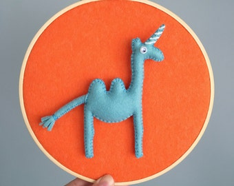 Embroidery hoop art, The Camelcorn hoop, modern whimsical decor, baby shower gift, hand sewn, orange and ciy blue felt, OOAK