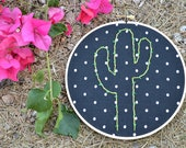 Cactus Hand Embroidered Hoop Art. 7in Wood Hoop. Cactus Decor. Pick your fabric