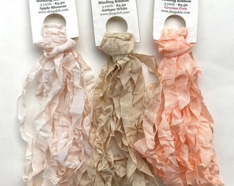 Vintage Seam Binding Ribbon, Ruffled Seam Ribbon, Jewelry Ribbon, Cream Ribbon, Blush Ribbon, One 5 Yard Bundle, You Choose Color, Dry Gulch