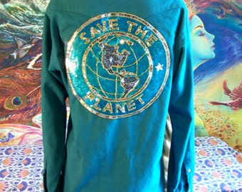 SAVE the PLANET, Western shirt, Pearl snap shirt, Thick Flannel shirt, Wrangler shirt, Turquoise Flannel, size M/ L