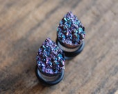 Tear Drop Shaped Purple Pink Faux Druzy Rough Crystal Plugs Gauges for stretched earlobes. Choose Size 2g (6mm) 0g (8mm), 00g (10mm)