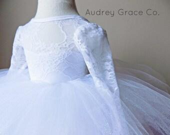 Long Sleeve Lace Dress, Girls Lace Dress, Tulle  Flower Girl Dress, White Lace Flower Girl Dress, Baby Baptism Dress, Holy Communion Dress