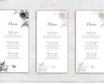 "Sketched Roses Design Flat Wedding Menu - 4x8"" or 5x7"" - Dinner Menus"