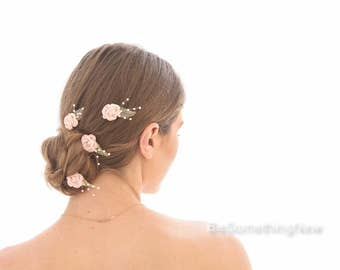 Blush Pink Bobby Pin Set of Flowers and Pearl Wedding Hair Accessory Flower Bobby Pins Vintage Flower Wedding Hair Clips Pink Rose Hair Pins