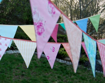 CUSTOM Wedding Banner Photography Prop Decoration, Circus Carnival Wedding Photobooth, or Party Bunting, 10 ft of flags, You Choose Colors