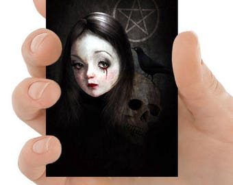 Gothic Aceo Card - Goth Girl Portrait - ACEO Card - Miniature Art - Artist Trading Card - Occultist