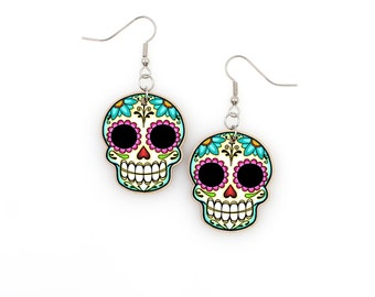 Sugar Skull and Daisies Dangle Earrings - Dia de los Muertos Calaveras on Stainless Hooks