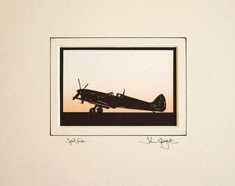 Spitfire Aircraft Original Signed Hand Cut Silhouette Papercut Art (full plane version)
