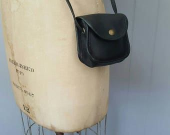 Black TINY Coin Belt Bag / small leather change purse