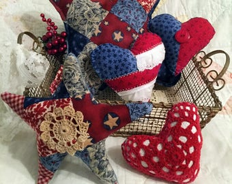 5 Patriotic Hearts and Stars Handmade Pillows, Red White Blue, 4th of July, Memorial Day Americana Farmhouse Cottage Decor, Doily, Basket