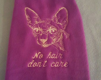 "Glow in the Dark ""No Hair Dont Care"" Sphynx Saturday Shirt ~ Cat Clothes"