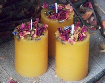 BEAUTIFUL Beeswax Pillar Votive Candles - All Natural 100% Premium Yellow Beeswax w/ Roses Larkspur Hawthorn - Naturally Aromatically Divine