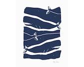 Whale Art, Small Art Print, Screenprint, Nautical Decor, Whale Print
