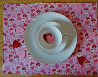 Set of 6 Valentine's Day Placemats--Pink Sparkle Heart