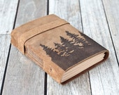Pine Tree Leather Journal, Rustic Suede Sketchbook, Travel Diary