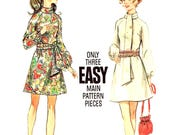 A Line Dress Size 12 Bias Roll Collar Butterick 5654 Sewing Pattern Vintage 1960s  Raglan Sleeves Bust 34 New Uncut