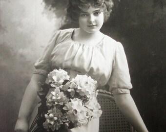 Antique photo postcard, Antique pretty girl photo postcard, Antique flower girl RPPC, girl with hydrangea flowers, Antique Art Deco girl
