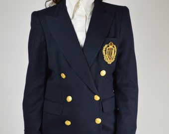 Navy Blue Blazer, Navy Blue Jacket, Preppy Jacket, Double Breasted Jacket, Country Club Jacket, Yacht Club Jacket, Collegiate Jacket,