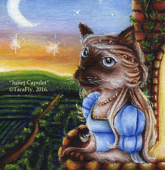 Shakespeare Cat Art, Romeo and Juliet Literary 8x10 Fine Art Print