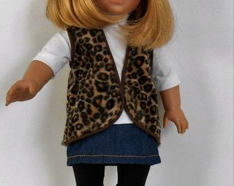 """SALE - Jean skirt, cheetah vest, white knit shirt and black leggings fit 18"""" dolls like American Girl"""