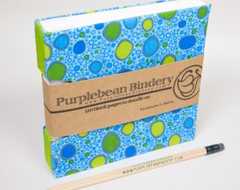 A Guestbook, Square Journal or Sketchbook, Unique and Hand-Bound with Blue, Green and Bright Bubbles on the Cover