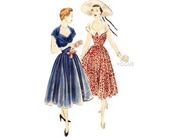 50s Stunning Cocktail Dress Pattern Vogue 7086, Full Skirt Dress with Cap Sleeves & Low Neck, Bust 34, Vintage Easy Sewing Pattern