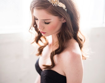 Gold floral headpiece, bridal headpiece, flower headband - Style 3106 - FREE SHIPPING*