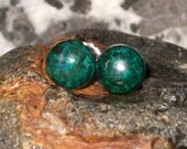 Chrysocolla 8mm Round Stud Earrings Earings Natural Blue Green Handcrafted