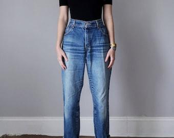 levis 550 jeans / denim 80s medium blue wash faded high waist straight leg (m - l)