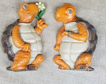 Vintage Burwood Products turtles set of 2 wall plaques home decor 1978