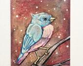 Original Nature Artwork - Miniature Art - Bird Art - Woodland Bird Painting - Winter Painting - Bluebird Painting - ACEO Mixed Media Art