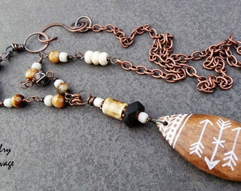 Painted Wooden Arrow Boho Chic Necklace, Long Czech Glass Necklace, Copper and Patterned Beaded Brown and Tan Necklace