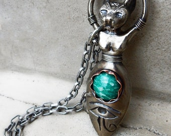 Bast Goddess with Amazonite and Eye of Horus, Egyptian Cat Goddess of Sensual Pleasure, Protection, and Health