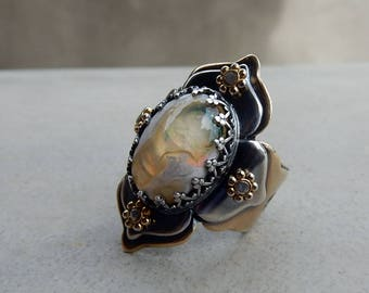 RESERVED FOR JAMIE C., Lotus Ring with Yellow Mexican Fire Opal, Mystery, Variety, Progress, Change, Kundalini, Sacral, Solar Plexus Chakra
