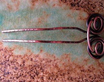 Swirls Hair Fork, 4 inch length & half inch width, 10g antiqued copper, hair pin, hair accessories, hair stick, u pin, chignon