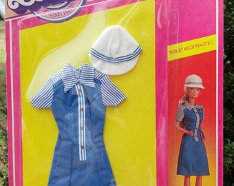 """1982 Barbie """"Fun At McDonalds"""" Fashion Uniform Outfit Mint in Pack 35 yrs old!"""