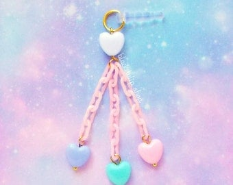 Cute Cell Phone Charm Dust Plug 4 Pastel Hearts Pink Plastic Chain Fairy Kei Sweet Lolita Dangle Cell Phone Charm Kawaii Charms