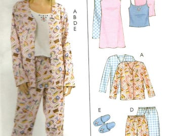 McCalls 4979 UNCUT Misses Camisole, Nightgown or Slip, Slippers and Pajama Pants Sewing Pattern Size XSM-MED Bust 29.5-36